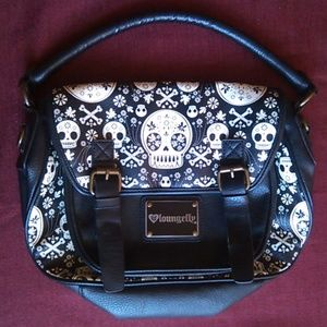 Rare Loungefly Sugar Skull Cross Bones Satchel Bag